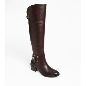 Vince Camuto Brown Over-Knee Boots w/Gold Hardware